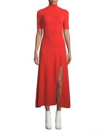 A L C  Caplan Turtleneck Short-Sleeve Slit-Front Long Dress at Neiman Marcus