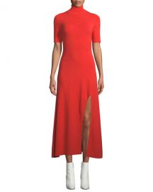 A L C  Caplan Turtleneck Short-Sleeve Slit-Front Long Dress at Neiman Marcus