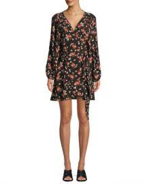 A L C  Carlo Floral Silk Wrap Dress at Neiman Marcus