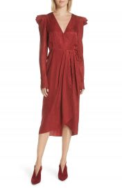 A L C  Carolina Puff Shoulder Silk Jacquard Dress at Nordstrom