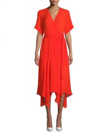 A L C  Claire Belted Handkerchief Silk Dress at Neiman Marcus