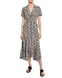A L C  Clarkson Snake-Print Midi Shirt Dress at Neiman Marcus