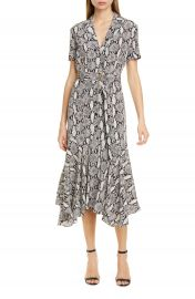 A L C  Clarkson Snake Print Silk Midi Dress   Nordstrom at Nordstrom