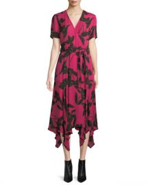 A L C  Cora Floral-Print Silk Midi Wrap Dress at Neiman Marcus