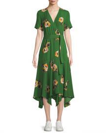 A L C  Cora Floral Silk Wrap Midi Dress at Neiman Marcus