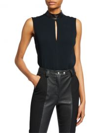 A L C  Dallas Sleeveless Collared Keyhole Top at Neiman Marcus