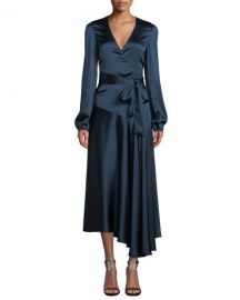 A L C  Darby Asymmetric Long-Sleeve Silk Wrap Dress at Neiman Marcus