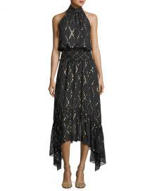 A L C  Easton Sleeveless Halter-Neck Long Chiffon Dress w  Metallic at Neiman Marcus