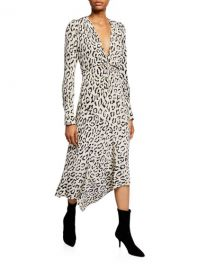 A L C  Eden Printed Long-Sleeve Zip-Front Dress at Neiman Marcus