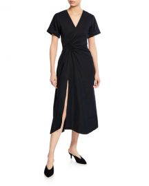A L C  Edie V-Neck Short-Sleeve Ruched Dress w  Slit at Neiman Marcus