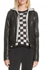 A L C  Edison Leather Jacket with Removable Hooded Inset at Nordstrom
