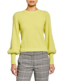 A L C  Eliana Crewneck Bishop-Sleeve Sweater at Neiman Marcus