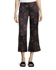 A L C  Evans Crop Flare Silk Pants at Neiman Marcus