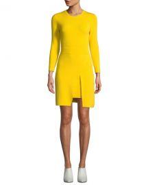 A L C  Hadley Long-Sleeve Dress w  Slit Skirt Overlay at Neiman Marcus
