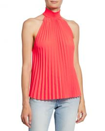 A L C  Imani High-Neck Pleated Top at Neiman Marcus