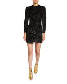 A L C  Jane Metallic Velvet Burnout Mini Dress at Neiman Marcus