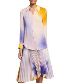 A L C  Jayne Silk Button-Up Top at Neiman Marcus