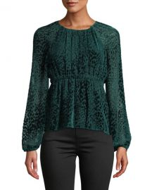 A L C  Karen Spotted Velvet Long-Sleeve Top at Neiman Marcus