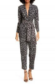 A L C  Kieran Leopard Print Jumpsuit   Nordstrom at Nordstrom