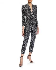 A L C  Kieran Printed Long-Sleeve Belted Jumpsuit at Neiman Marcus