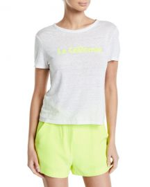 A L C  La Californie Wordmark Linen Tee at Neiman Marcus