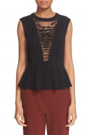 A L C  Lace-Up Lace Inset Peplum Top at Nordstrom