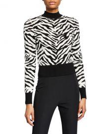 A L C  Lola Animal-Print Mock-Neck Sweater at Neiman Marcus