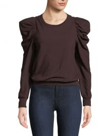 A L C  Loma Puff-Sleeve Pullover Sweatshirt at Neiman Marcus