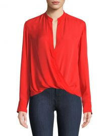 A L C  Luca Draped V-Neck Silk Long-Sleeve Top at Neiman Marcus