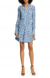 A L C  Marcella Leopard Print Long Sleeve Silk Minidress   Nordstrom at Nordstrom