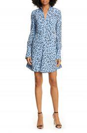 A L C  Marcella Leopard Print Long Sleeve Silk Minidress   Nordstrom at Nordstrom