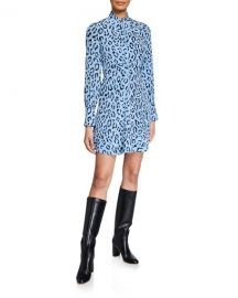 A L C  Marcella Zip-Front Leopard Short Dress at Neiman Marcus
