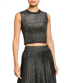 A L C  Mariam Sleeveless Metallic Crop Top at Neiman Marcus