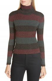 A L C  Mariel Metallic Stripe Turtleneck Sweater at Nordstrom