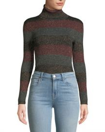 A L C  Mariel Striped Turtleneck Metallic Sweater at Neiman Marcus