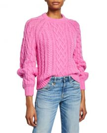 A L C  Mick Cable-Knit Sweater at Neiman Marcus