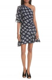 A L C  Misha Print One-Shoulder Silk Dress at Nordstrom