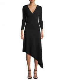 A L C  Morrow V-Neck Long-Sleeve Asymmetrical Dress at Neiman Marcus