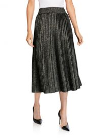 A L C  Nevada Metallic Pleated Midi Skirt at Neiman Marcus