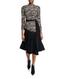 A L C  Peyton Zebra Mock-Neck 3 4-Sleeve Pleated Dress at Neiman Marcus