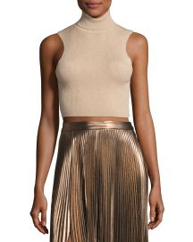A L C  Presley Sleeveless Ribbed Metallic Crop Top  Bisque Gold at Neiman Marcus