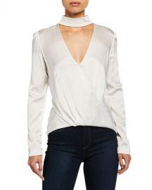 A L C  Raquel Mock-Neck High-Low Silk Cutout Top at Neiman Marcus