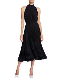 A L C  Renzo High-Neck Pleated Asymmetrical Cocktail Dress at Neiman Marcus