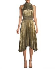 A L C  Renzo High-Neck Pleated Midi Dress at Neiman Marcus