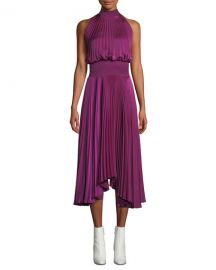 A L C  Renzo High-Neck Sleeveless Pleated Satin Midi Cocktail Dress at Neiman Marcus
