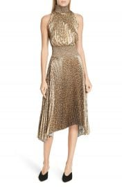 A L C  Renzo Leopard Print Metallic Foil Dress at Nordstrom