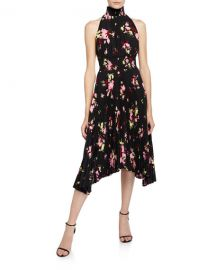 A L C  Renzo Pleated Floral Halter Dress at Neiman Marcus