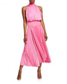 A L C  Renzo Pleated Halter Midi Dress at Neiman Marcus
