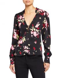 A L C  Rivera Abstract V-Neck Long-Sleeve Silk Top at Neiman Marcus