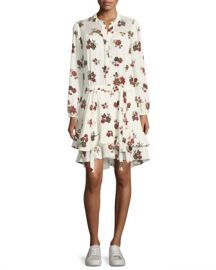 A L C  Rori Long-Sleeve Drop-Waist Floral-Print Silk Dress at Neiman Marcus
